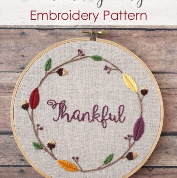 Thanksgiving Embroidery Hoop Pattern