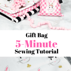 Quick and easy 5 Minute Fabric Gift Bag Tutorial - #handmadegift #sewing #sewingtutorial #giftbag #diygiftbag