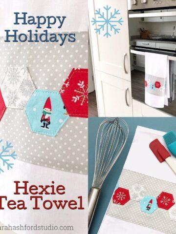 Super cute Hexie Christmas Tea Towel tutorial by Sarah Ashford. Such a fun Christmas gift idea ; learn how to sew hexagons! #christmasgifts #christmassewing #hexies #hexagons #hexagontutorial #christmasfabric #teatowel