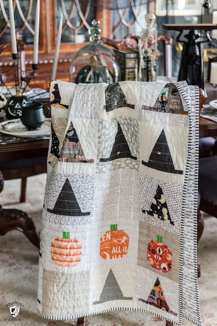 Halloween Haberdashery Quilt by Melissa Mortenson - a cute Witch's Hat Halloween Quilt pattern