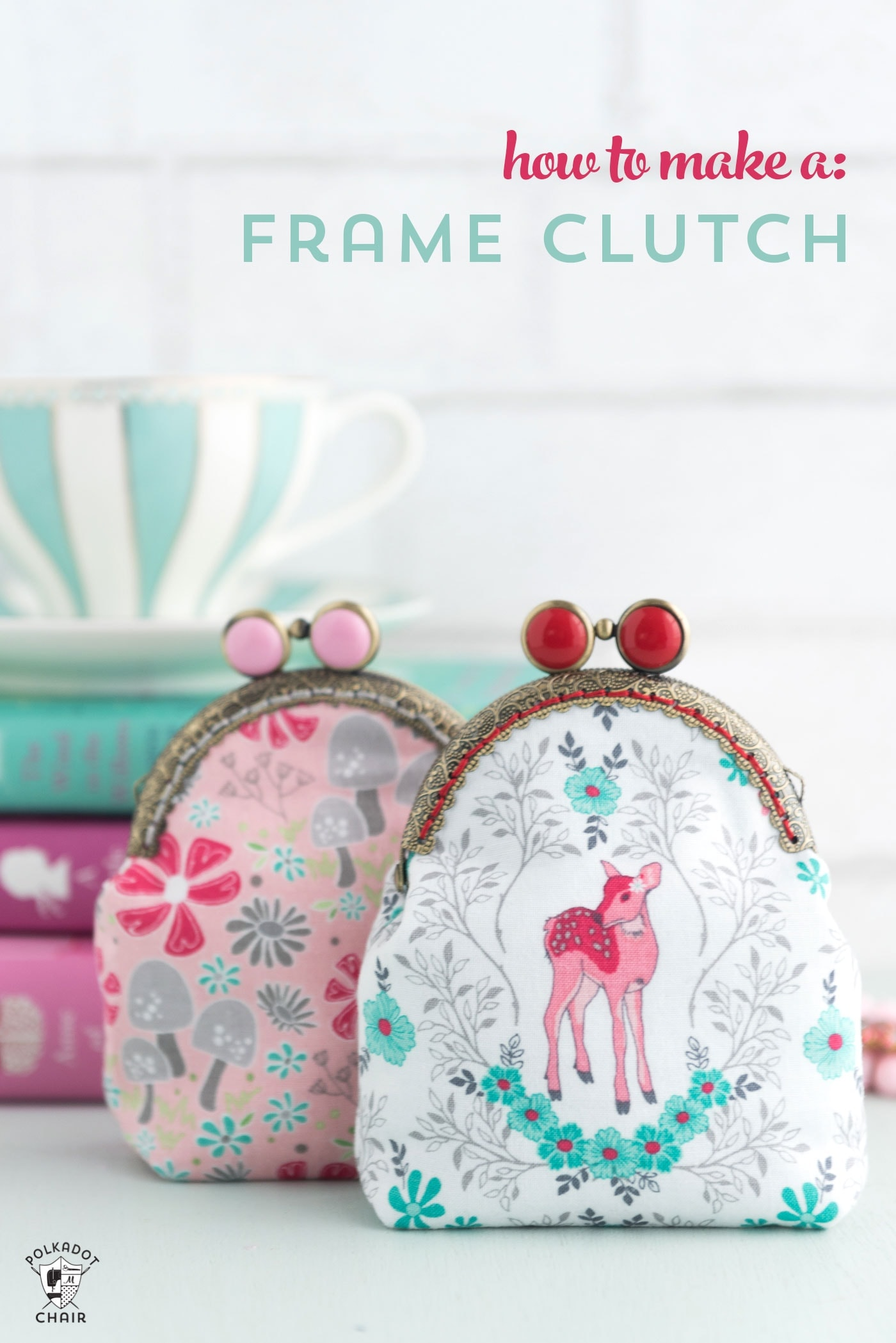 Learn how to draft a custom pattern for a frame clutch with this metal frame purse tutorial - how make a coin purse from a metal frame #frameclutch #sewing #sewingtutorial #sewingpattern #melissamortenson #polkadotchair #frameclutchpattern