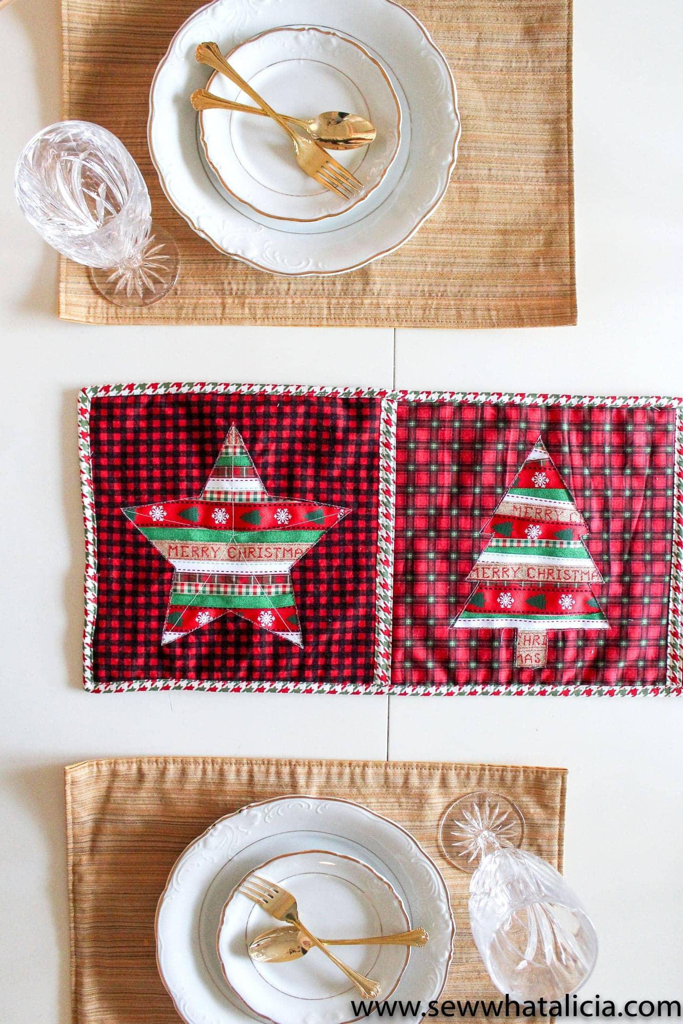 Christmas Table Runner Pattern Free.Reverse Applique Christmas Table Runner Tutorial The Polka