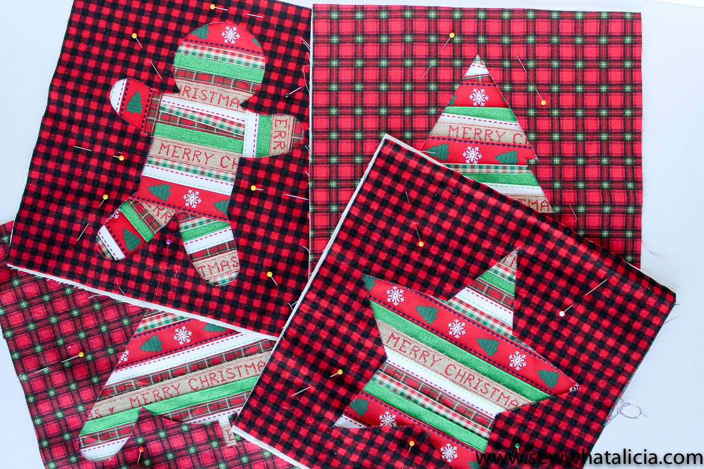 Free Reverse Applique Christmas Table Runner Pattern - such a cute and fun Christmas craft or sewing project #tablerunner #tablerunnerpattern #christmas #ChristmasDecor #ChristmasCraft #ChristmasProject
