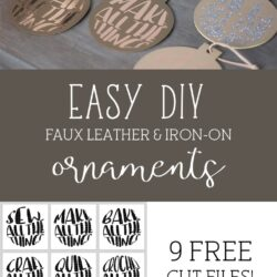"Make these adorable ""Maker"" DIY Leather Christmas ornaments. Includes free svg cut files - with cute sayings like ""make all the things"" - great gift ideas for Makers! #cricutmade #cricut #leatherornaments #christmasornamentDIY #DIYChristmasOrnaments"