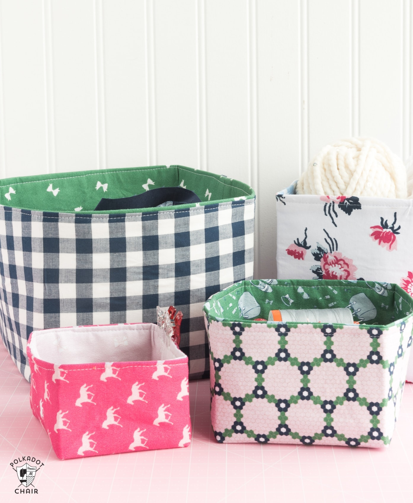Free Sewing Pattern for Fabric Baskets designed to work with the Cricut Maker. Fabric Basket Sewing Pattern that is easy to make and great for a beginning seamstress. #CricutMade #CricutMaker #CricutProject #FabricBasket #SewingPattern #freesewingpattern #fabricbasketDIY