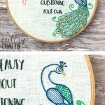 """Flamingo and Peacock Free Embroidery Pattern - Quote embroidery """"Admire Someone else's beauty without questioning your own"""" #embroiderypattern #freeembroiderypattern #flamingo #peacock #embroiderypatternquote"""