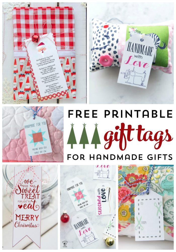 Free Printable Gift Tags for Handmade Gifts - gift tags for sewing gifts or knit gifts. #freeprintables #gifttags