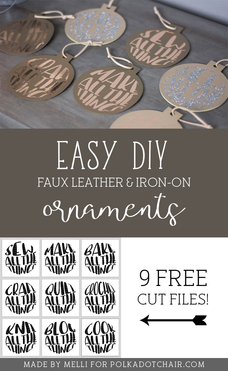 """Make these adorable """"Maker"""" DIY Leather Christmas ornaments. Includes free svg cut files - with cute sayings like """"make all the things"""" - great gift ideas for Makers! #cricutmade #cricut #leatherornaments #christmasornamentDIY #DIYChristmasOrnaments"""