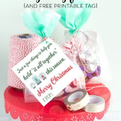 """Last Minute Neighbor Gift Ideas - a """"punny"""" and simple gift idea- just wrap up some tape and twine and attach a cute tag! #neighborgifts #lastminutegifts #christmasgifts"""