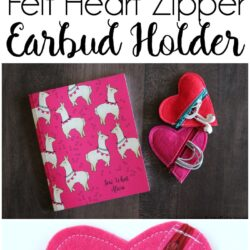 Felt Heart DIY Earbud Pouch - a free tutorial, makes a cute easy to make Valentine's Day gift. #earbudpouch #DIYearbudpouch #valentinesdaycrafts #valentinesdaygifts #diyvalentines #sewingproject #sewingpattern