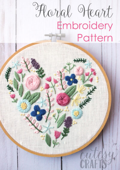Floral Heart Hand Embroidery Pattern