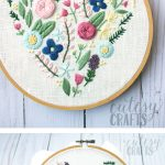Learn hand embroidery stitches with this beautiful free floral heart embroidery pattern #embroiderypattern #handembroidery #embroideredflowers #embroiderystitches #handembroiderystitches