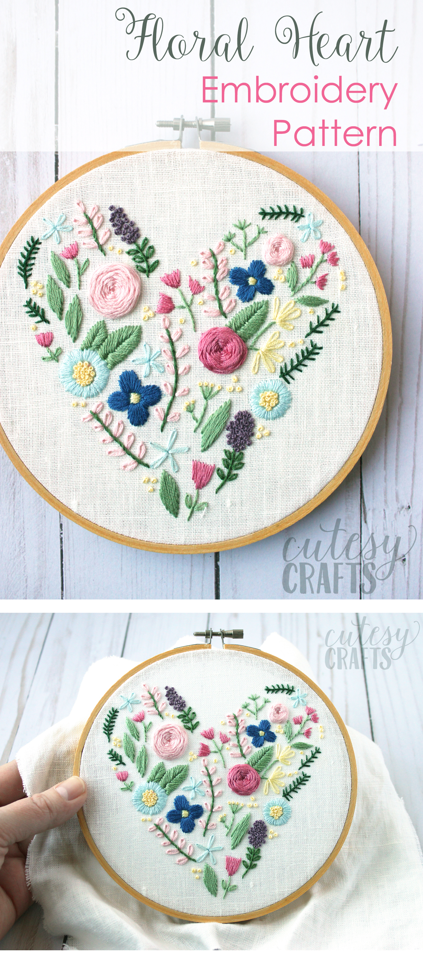 Floral Heart Hand Embroidery Pattern The Polka Dot Chair