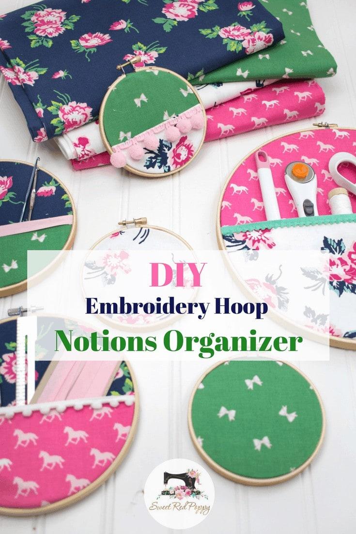 DIY Embroidery Hoop Hanging Wall Organizer