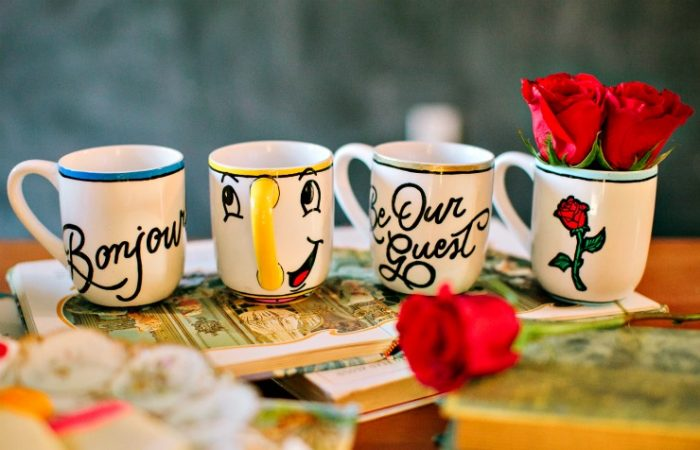 DIY Disney mugs made with sharpies, beauty and the beast themed