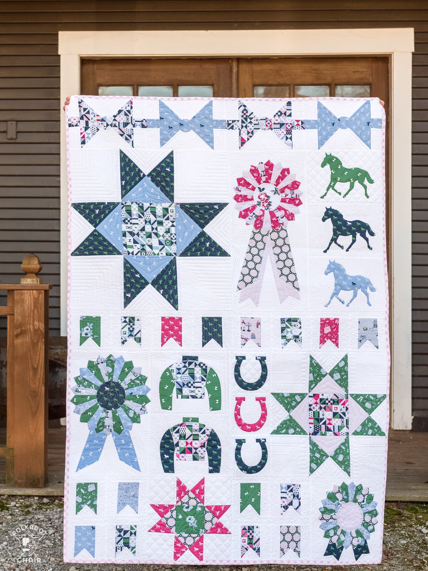 Derby Sampler quilt by melissa mortenson of polkadotchair.com - a fun horse and equestrian themed sampler quilt pattern using Derby Day Fabrics
