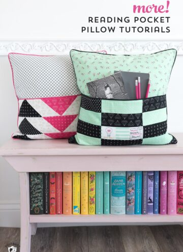 DIY Reading Pillow with Pocket free sewing pattern and tutorial. Learn how to make a patchwork pillow with a pocket, perfect for storing books or other goodies. #DIYreadingpillow #readingpillow #readingpillowpattern #pocketpillowpattern #pocketpillow #patchworkpillow #sewingpattern #freesewingpatterns