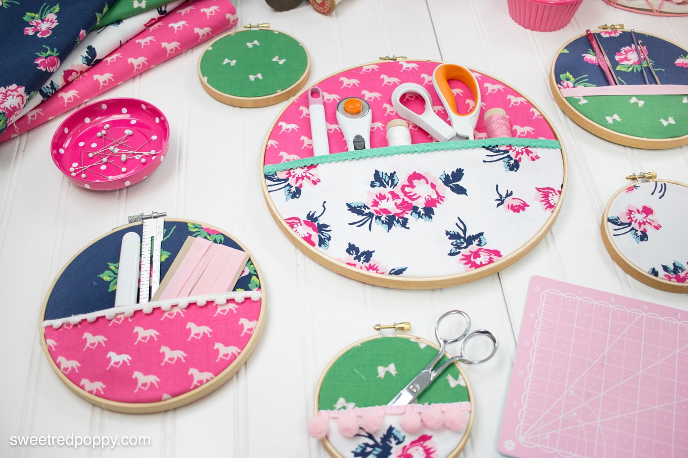 DIY Embroidery Hoop Hanging Wall Organizer