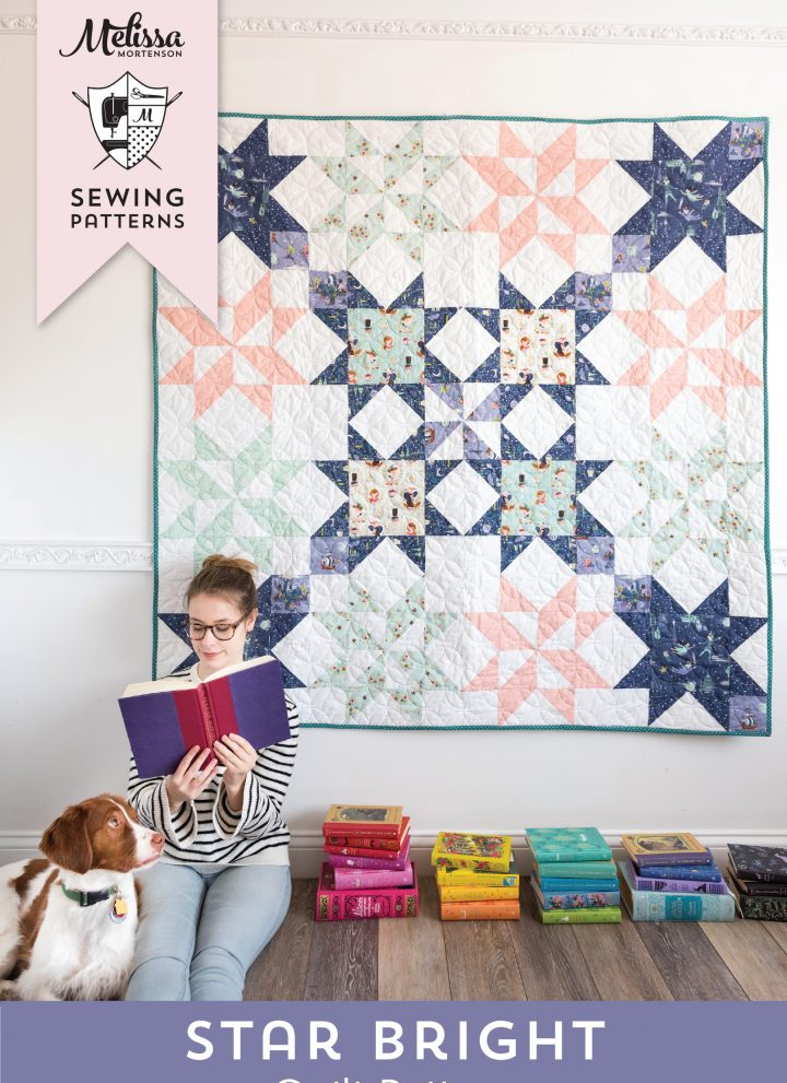 The Star Bright Quilt Pattern by Melissa Mortenson of polkadotchair.com - a fun Sawtooth Star Quilt pattern that is a great way to show off novelty print fabric. A fun quilt for fussy cut blocks