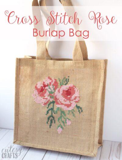 Rose Cross Stitch Burlap Bag Tutorial