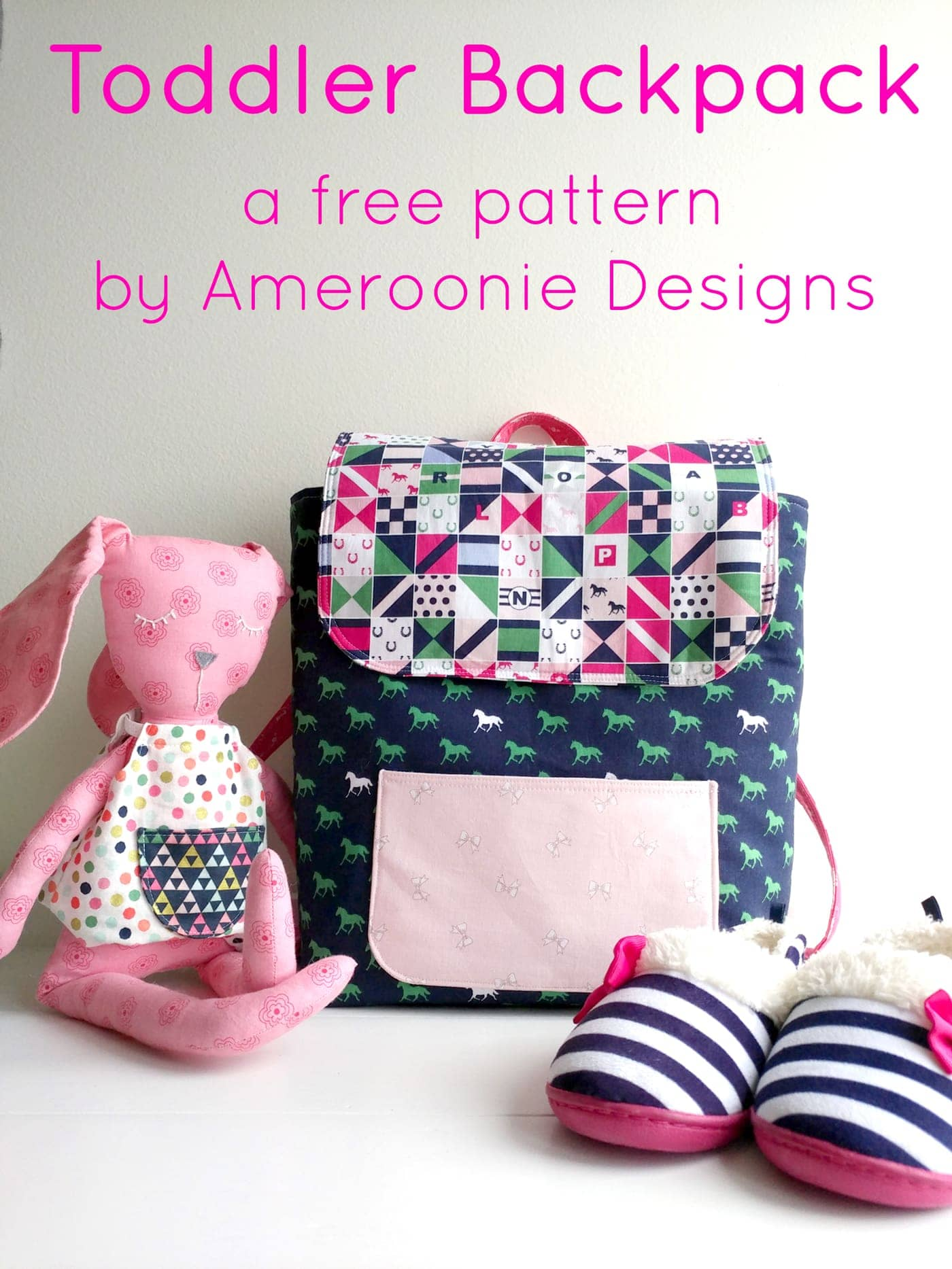 Learn how to sew a mini backpack with this cute toddler backpack pattern. Stitched up with Derby Day fabrics from Riley Blake Designs. Backpack sewing pattern #minibackpack #toddlerbackpack #smallbackpack #backpacksewingpattern
