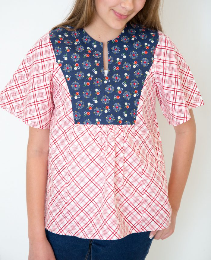sewing pattern for a girls boho inspired peasant blouse