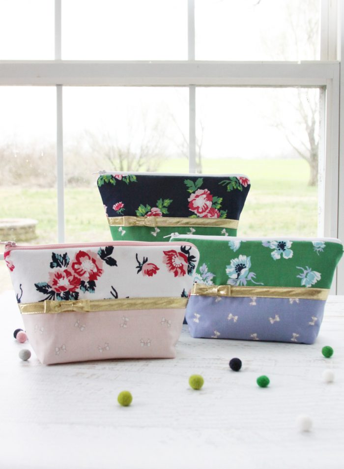 floral and bow zip pouch sewing tutorial