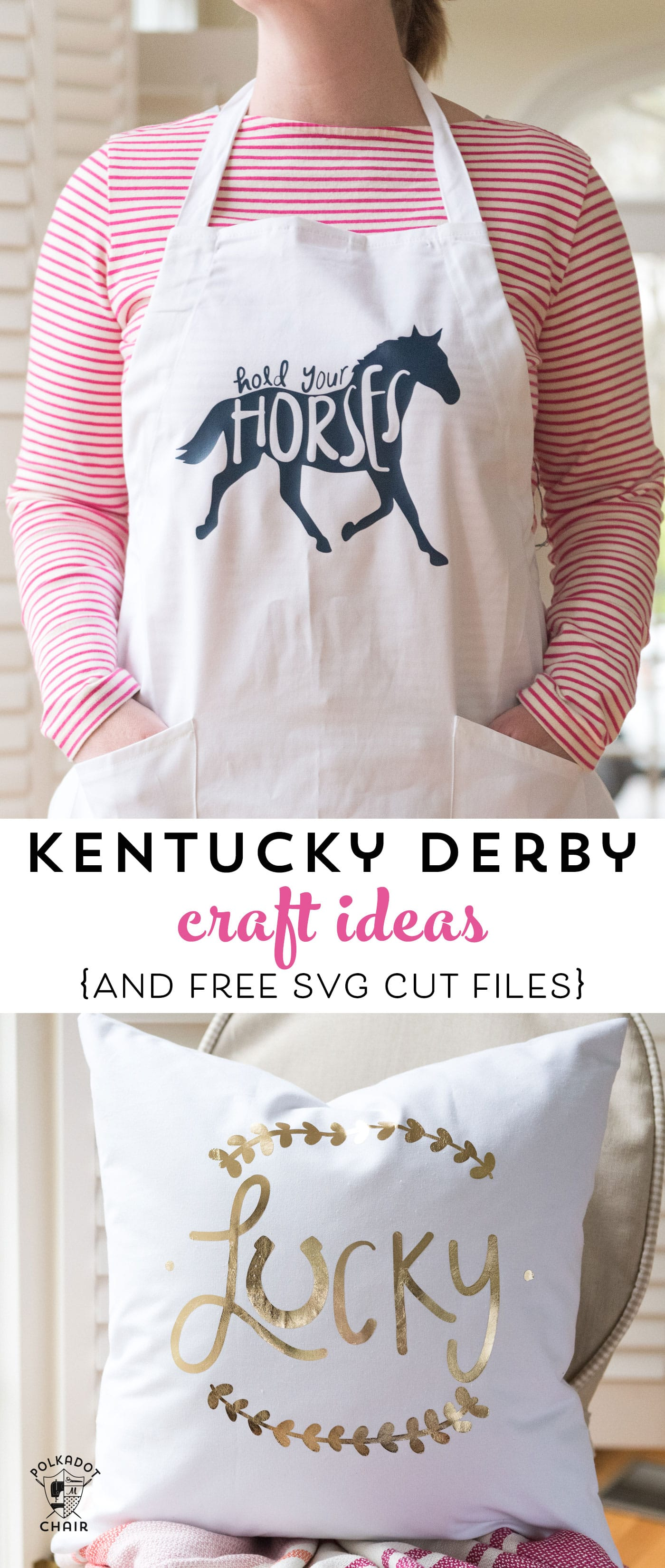 Kentucky Derby Craft ideas and free svg file for a Lucky Pillow to make your own pillow cover #CricutMade #Derby #KentuckyDerbyCrafts #CraftIdeas #DIYPillowCover