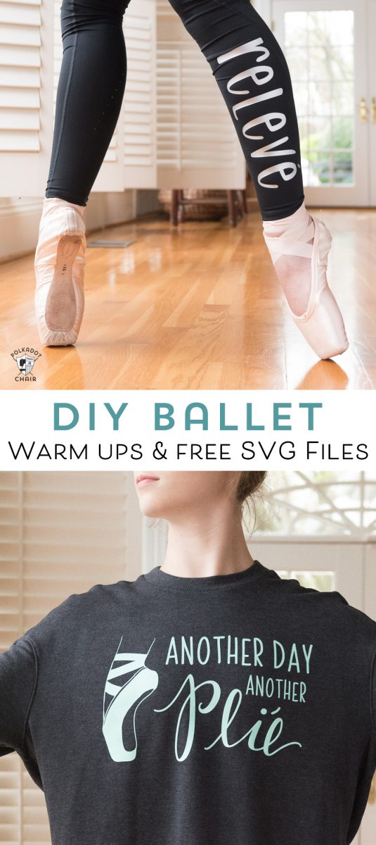 Learn how to make DIY Ballet Warm Ups with your Cricut. Includes free ballet svg file and review of SportFlex Iron on - how to apply iron-on to leggings and sweatshirts #DIYBallet #CricutMade #CricutSVG #BalletWarmUps #BalletSweatshirt #DIYBalletTShirt
