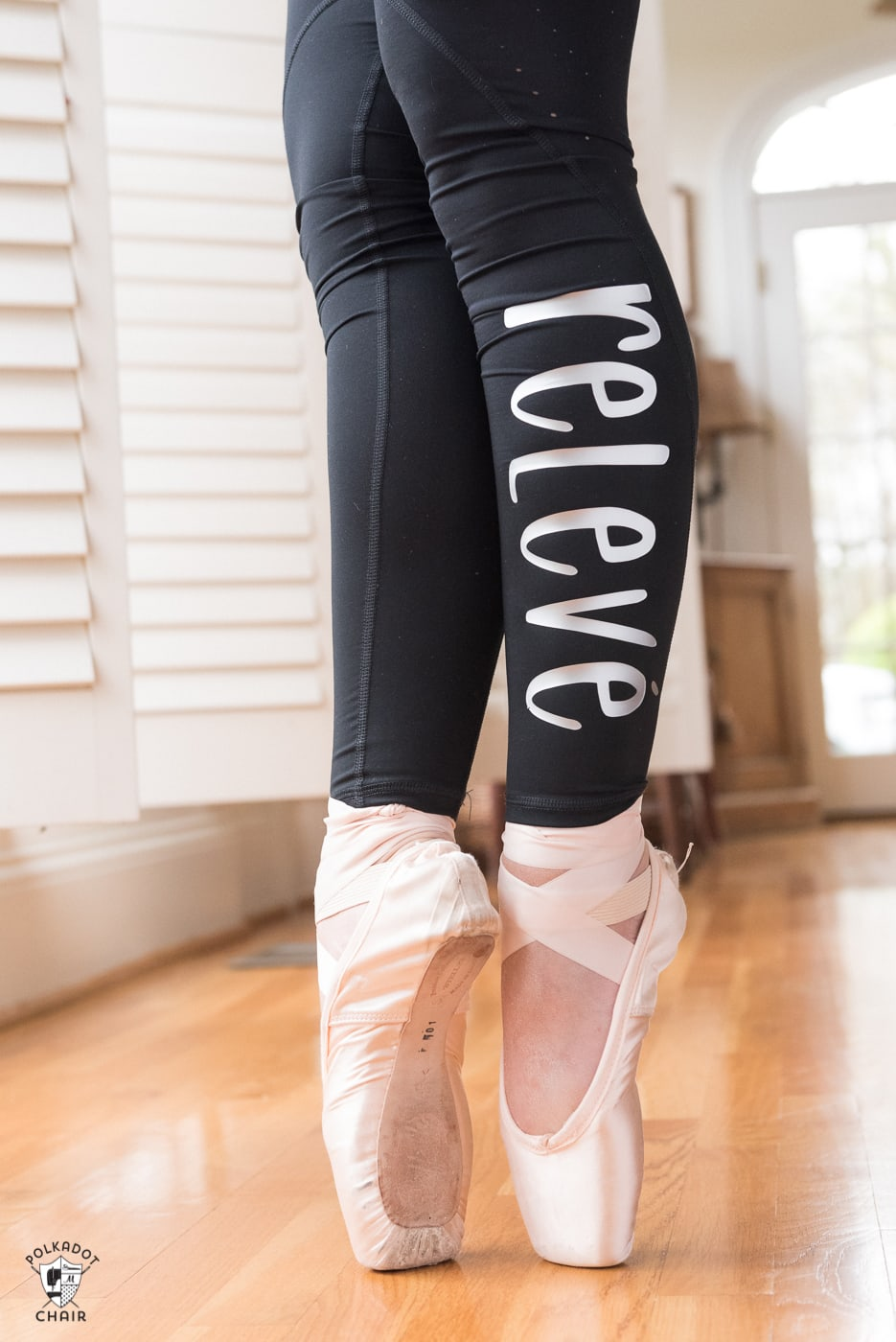 Ballet words ironed onto leggings with Cricut SportFlex