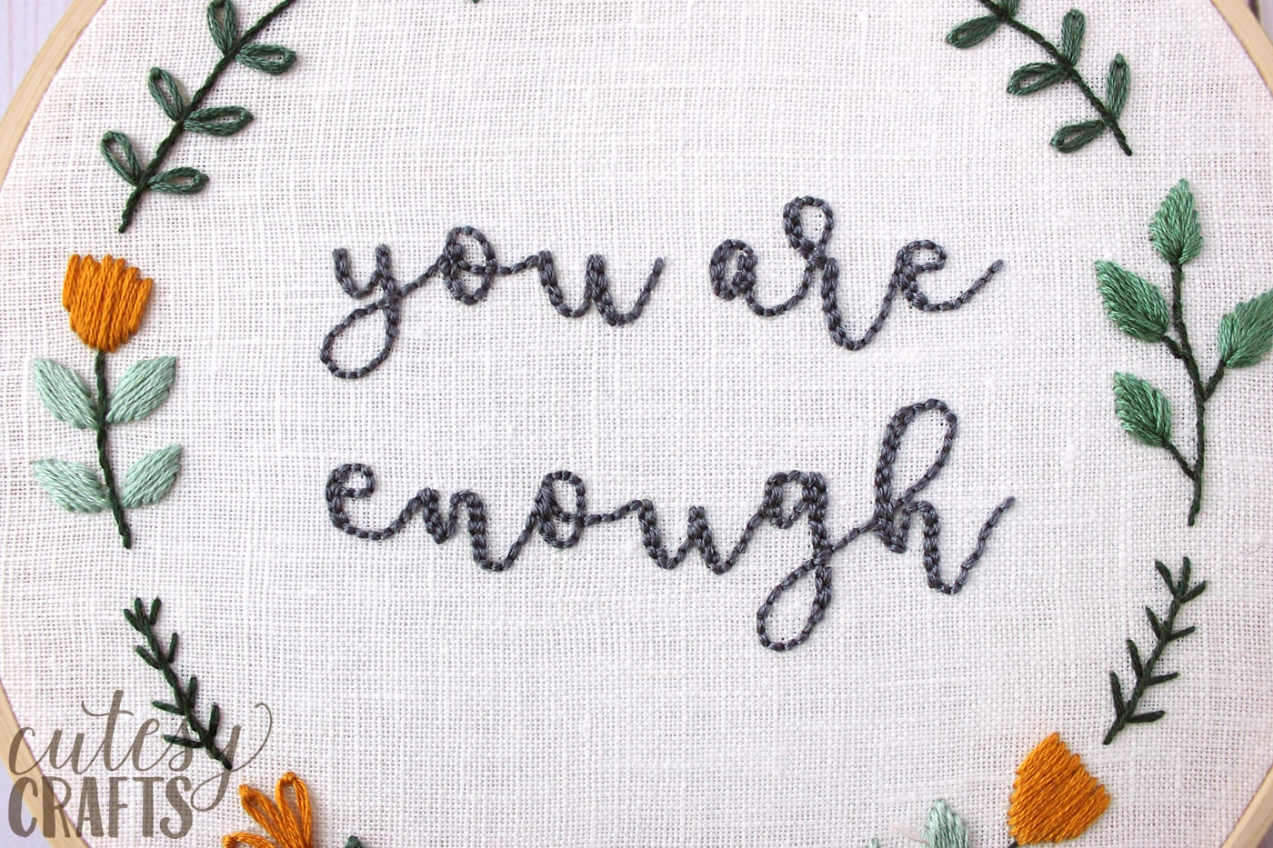 You Are Enough Free Hand Embroidery Pattern The Polka Dot Chair