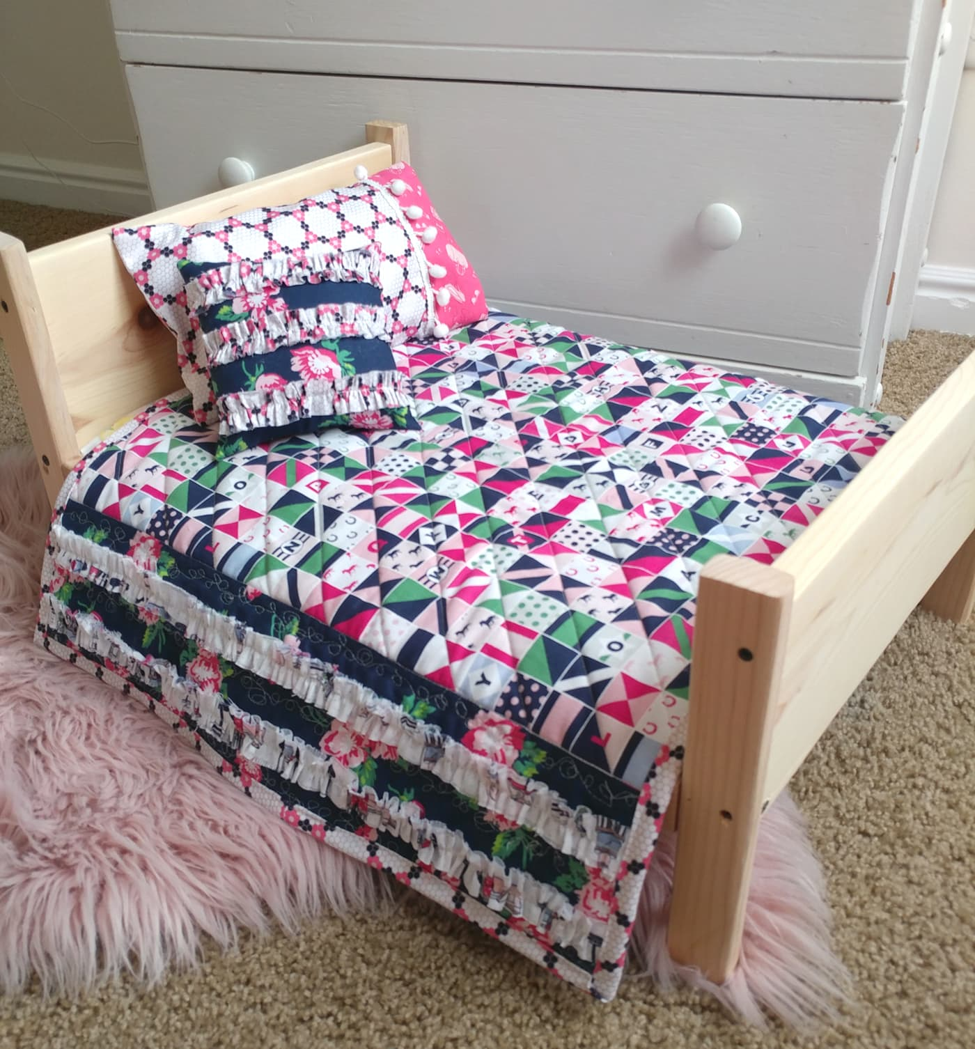 Baby Doll Quilt on custom doll bed