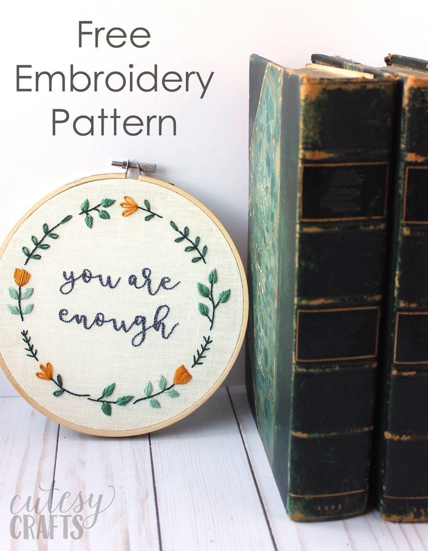 You are Enough; Free Hand Embroidery Pattern