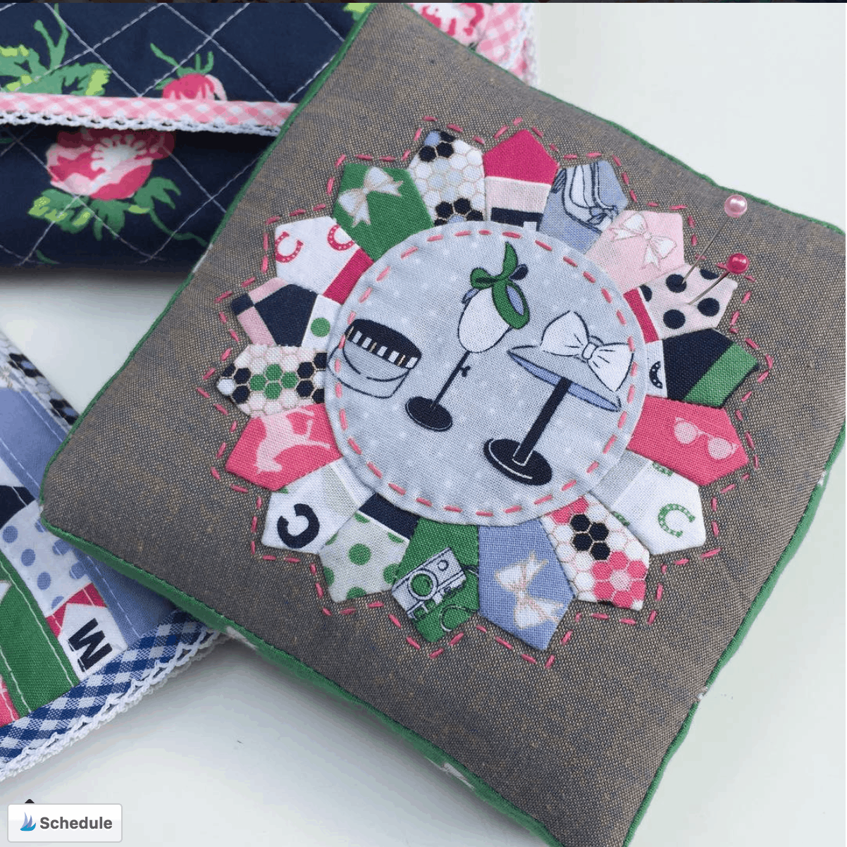 Mini dresden quilt block pin cushion by quilty obsession