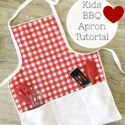 Kids BBQ Apron Pattern - a free tutorial to make a childs apron, perfect for summer! Simple kids apron pattern. #kidssewing #bbqapron #childsapron #kidsapron #sewingtutorial #sewingpattern #freesewingpattern #bbqapronpattern