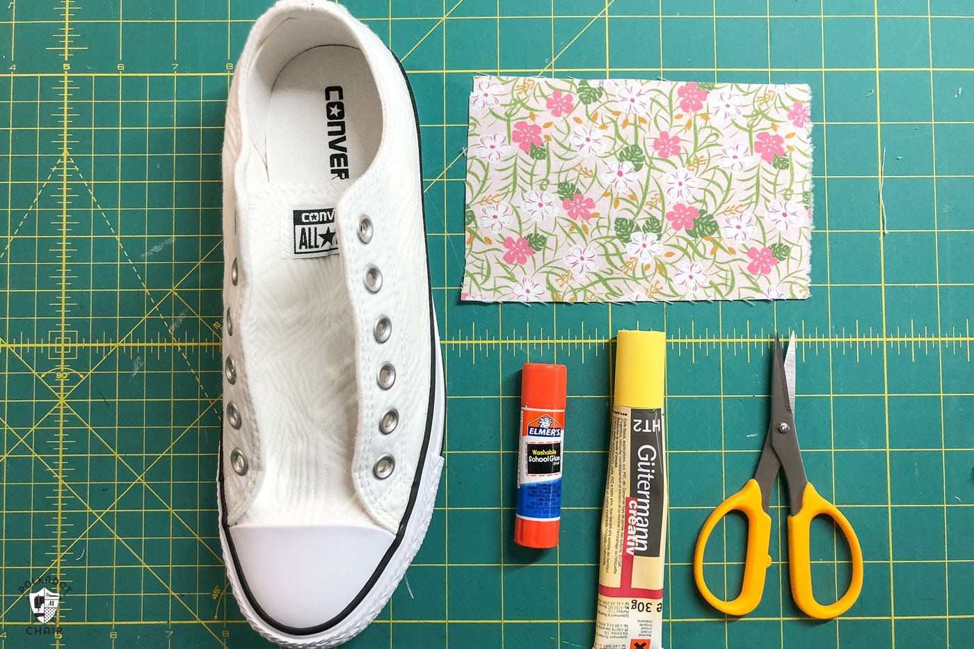 Supplies to add fabric to converse shoes