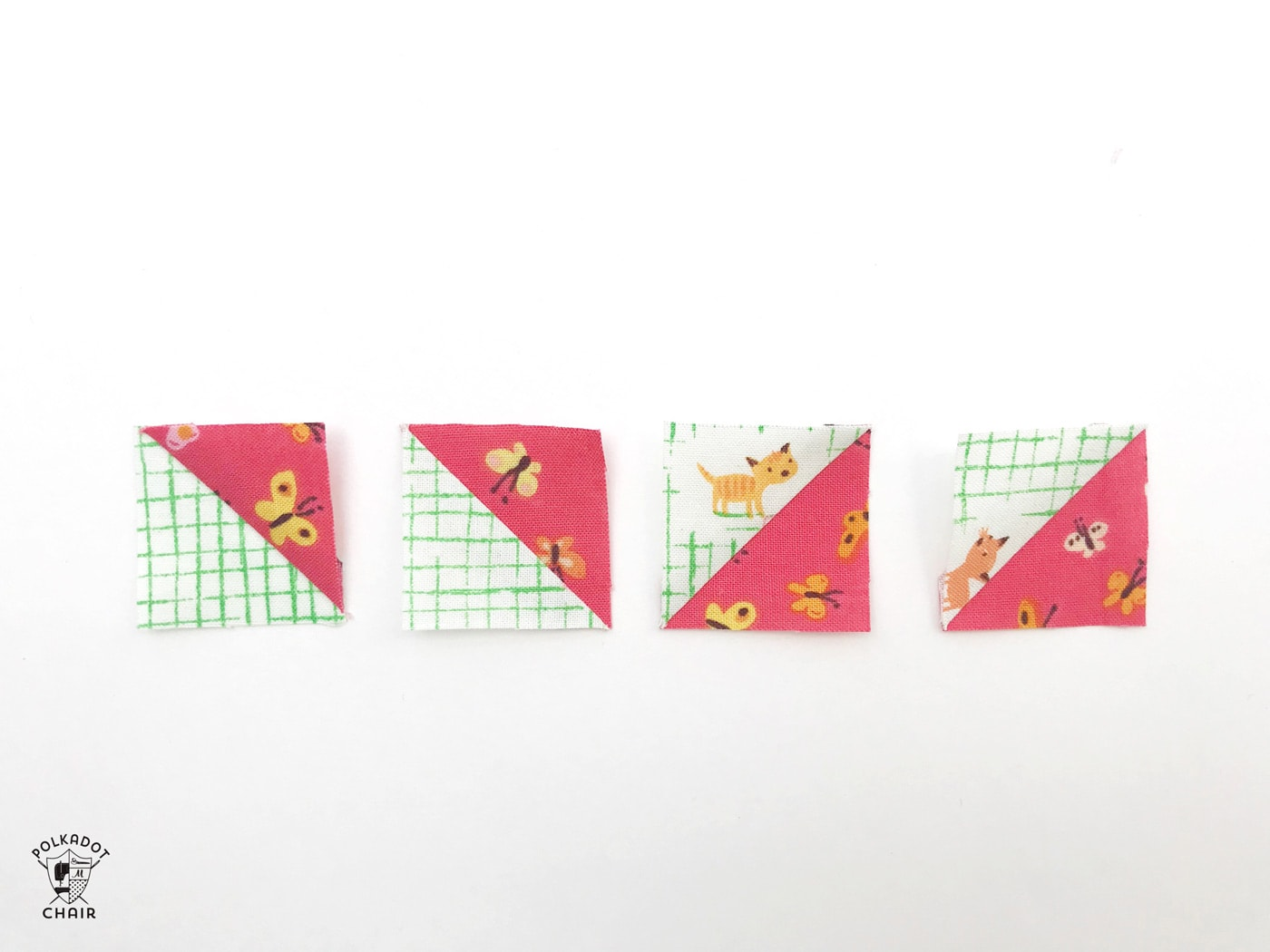 constructing the mini churn dash quilt block