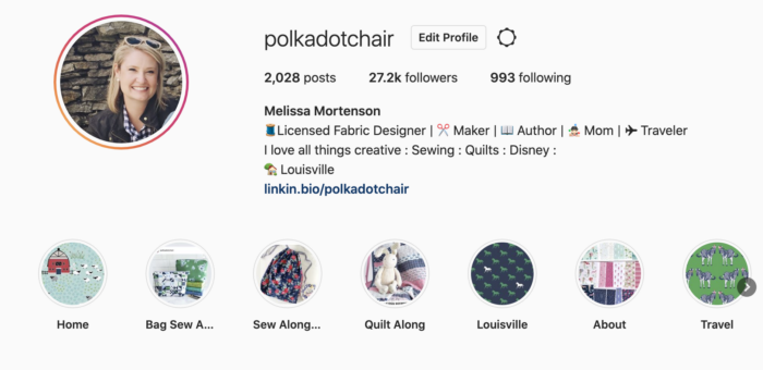 screenshot of instagram profile