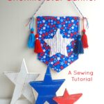 Chenille Star Banner Sewing Tutorial, a free 4th of July Craft idea, makes such a cute fourth of July decoration! #4thofjuly #4thofjulycrafts #4thofjulysewing #smallsewingproject