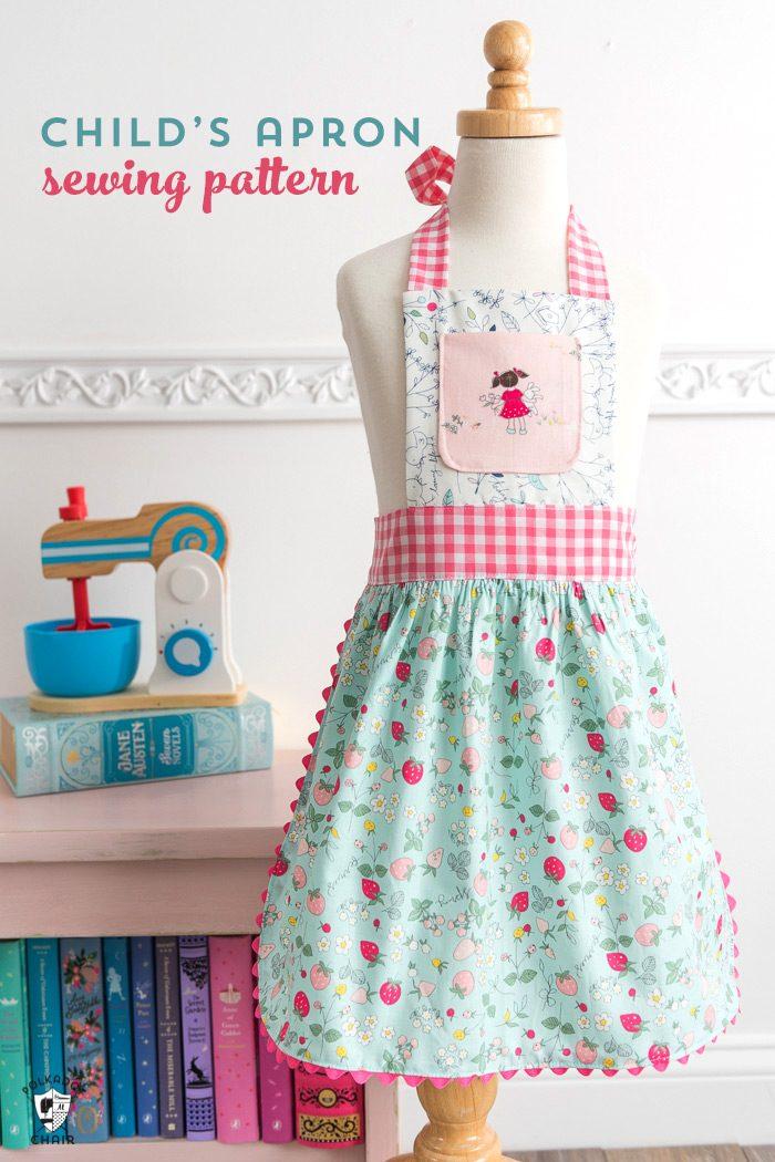 child's apron on dress form