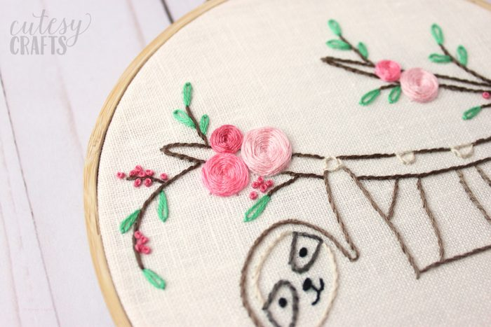 close up of round embroidery hoop on a table -