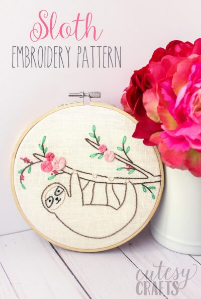 Adorable Sloth Hand Embroidery Pattern