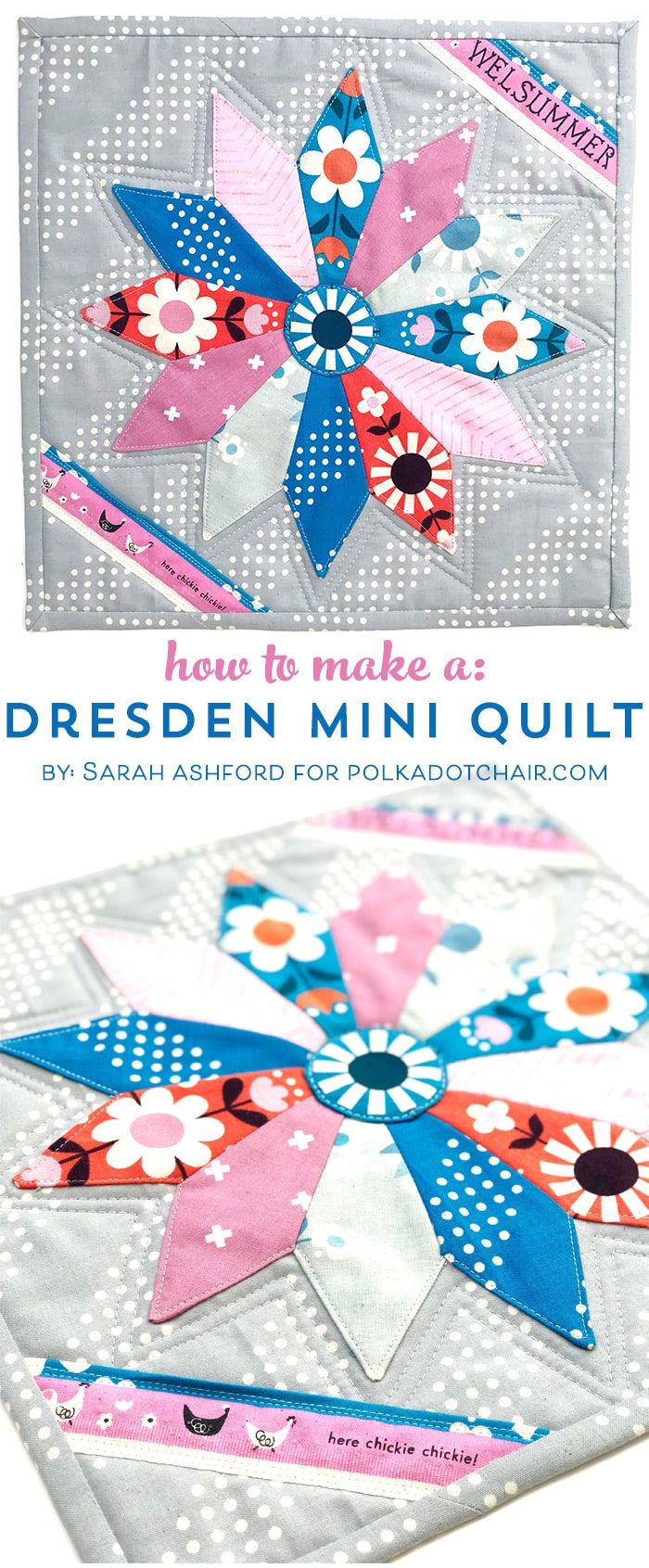 A free mini quilt pattern, a Dresden Plate Quilt. Learn how to make a dresden plate on polkadotchair.com #dresdenplate #miniquilt #miniquiltpattern #miniquiltpatterns #dresdenplatequilt