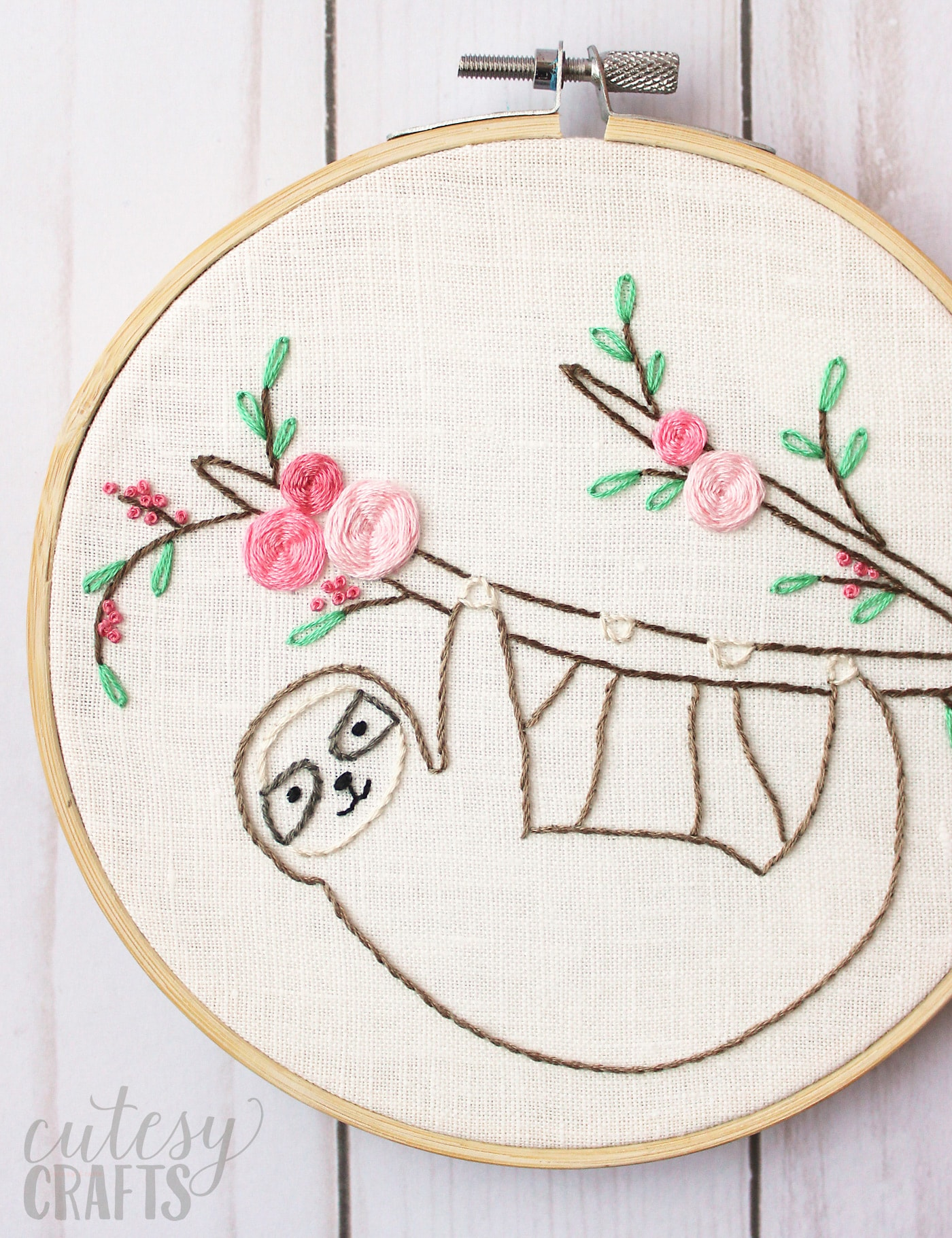 round embroidery hoop on a table -