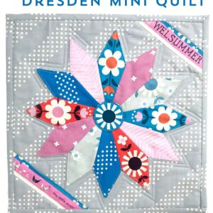 dresden plate mini quilt on table
