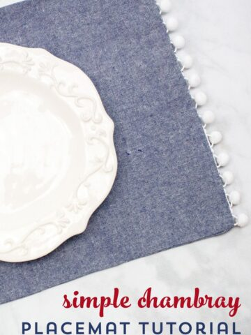 chambray placemat on marble table