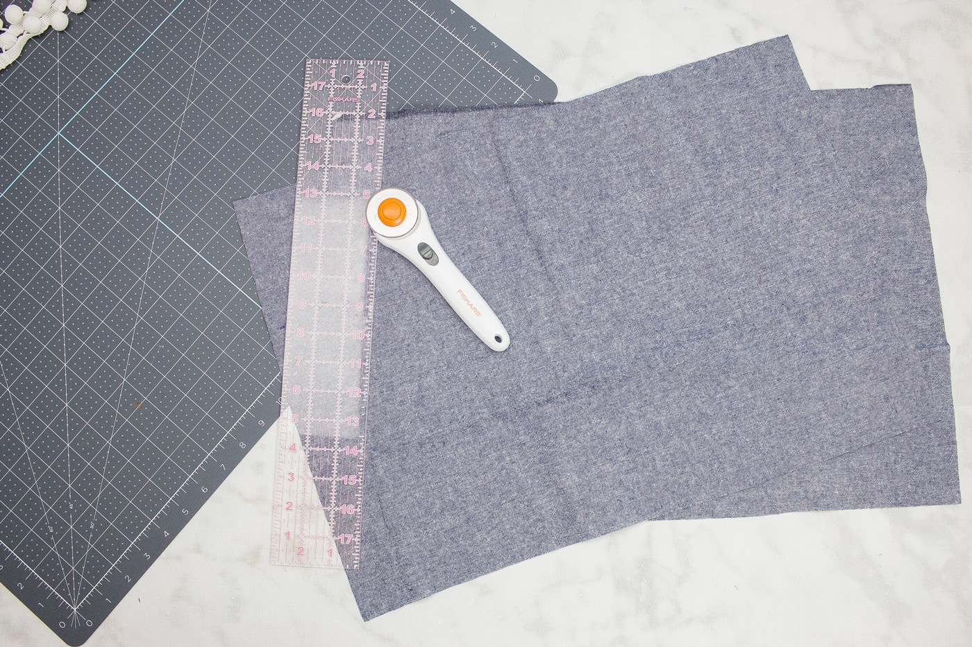 supplies for placemat on white background