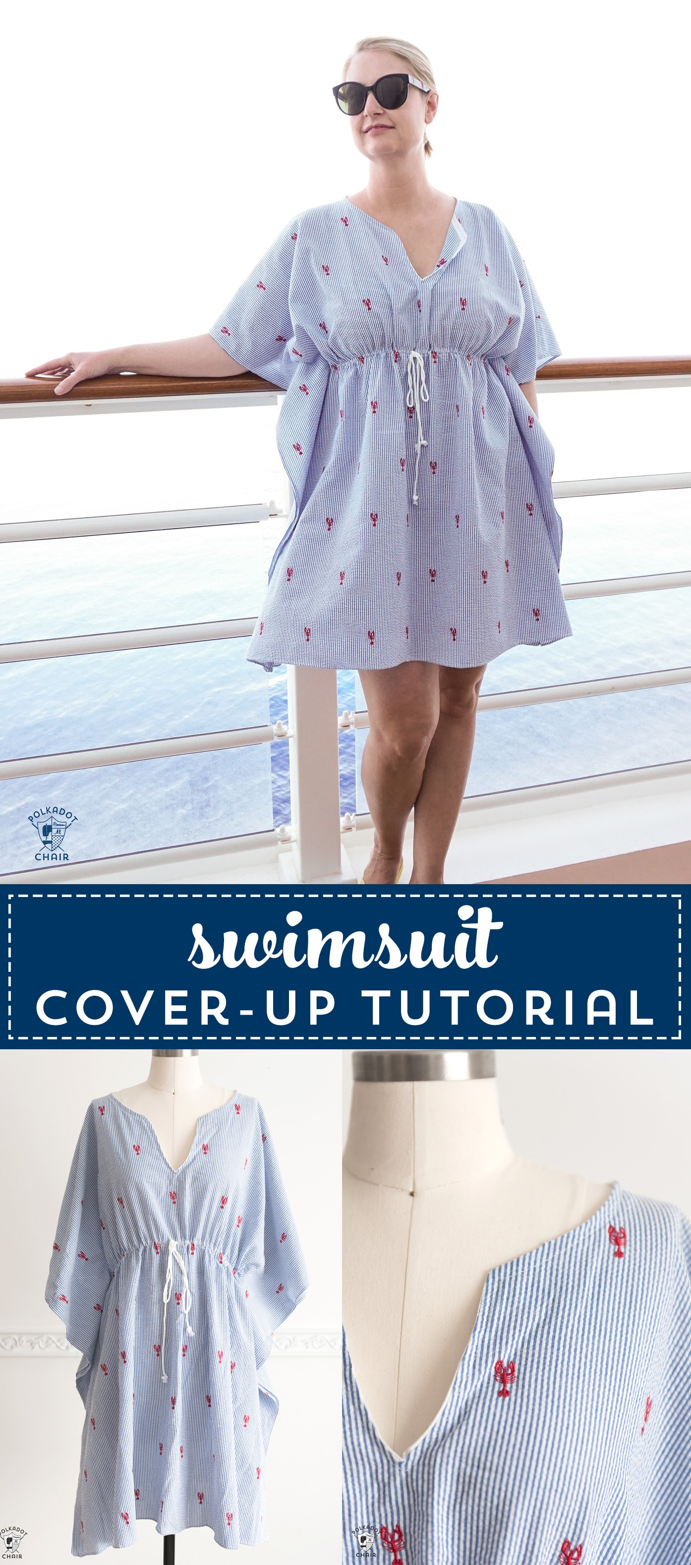 Learn how to make an easy and cute swimsuit cover-up. So simple to sew. A great cover-up for the beach, the pool or to take on a cruise. #freesewingpattern #sewingpatterns #swimsuitcoverups #bathingsuitcoverups #sewing