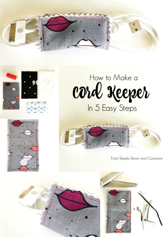 Simple to make DIY cord keeper. A great way to keep your cords organized when you're traveling. #sewing #simplesewing #sewingproject #cordkeeper #travel