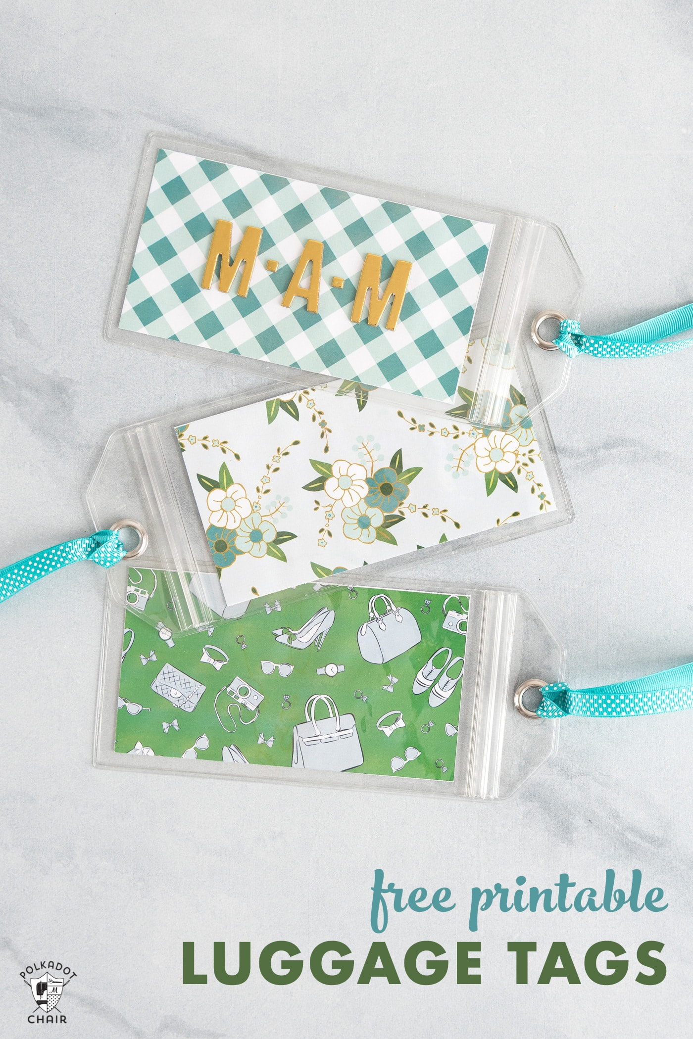 graphic regarding Printable Luggage Tag named No cost Printable Bags Tags The Polka Dot Chair
